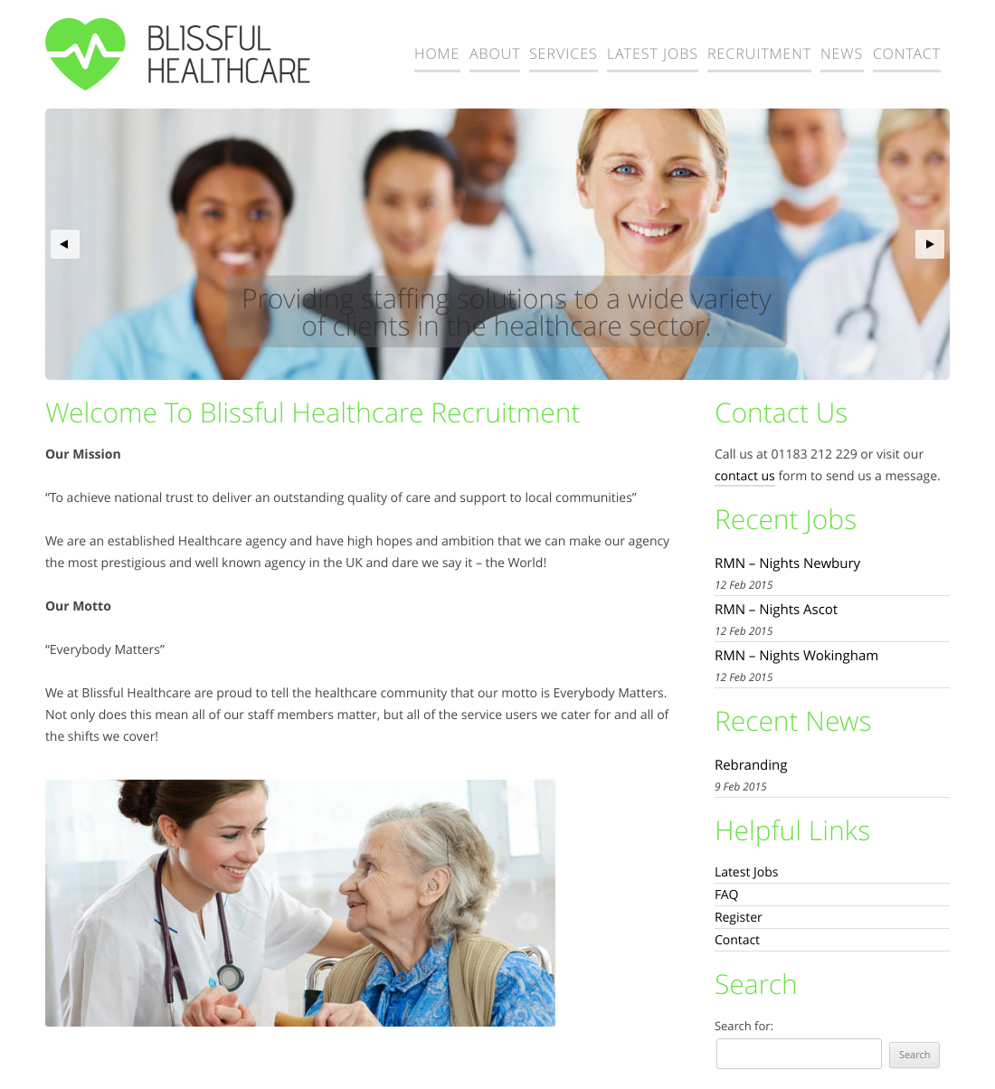 blissful healthcare recruitment website design