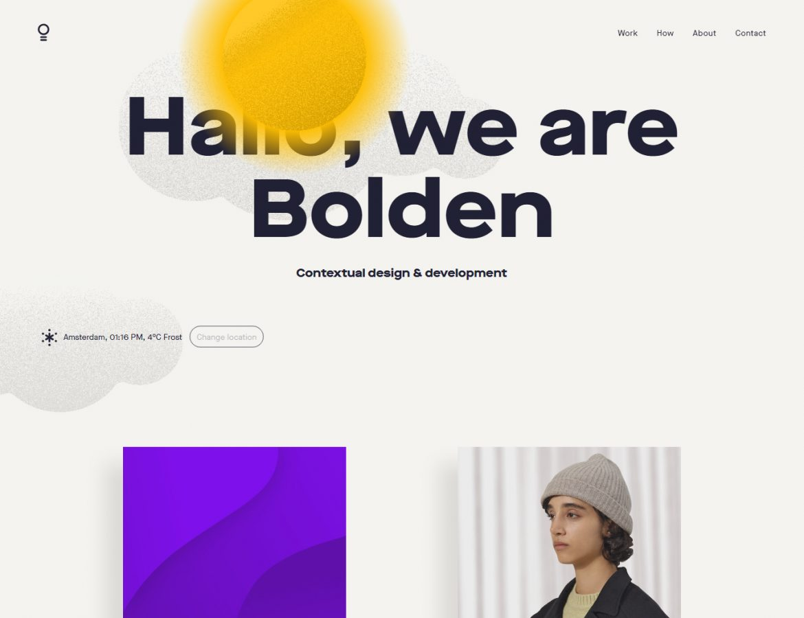 bolden website typography example