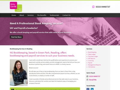 bookkeeper reading website design