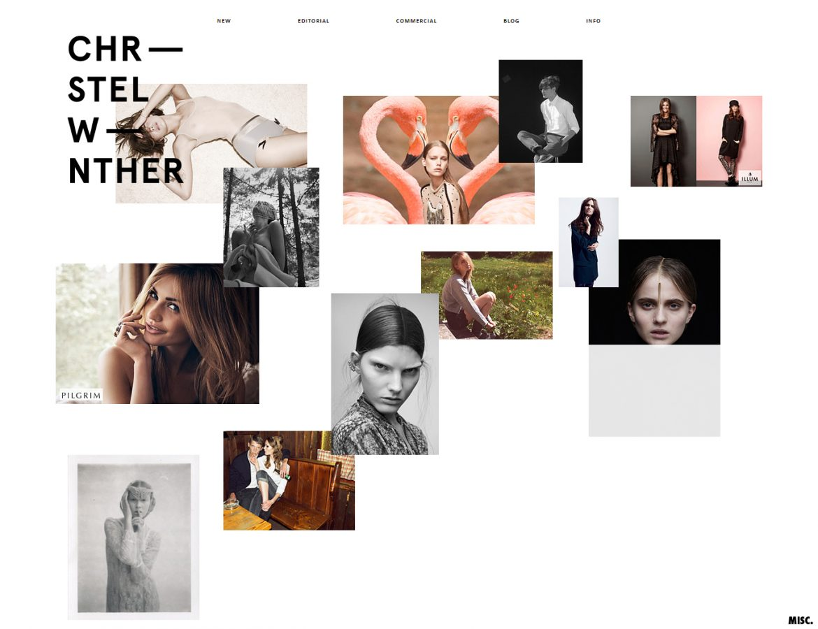 christel winther website layout example