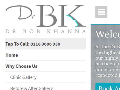 drbk website design mobile menu layout