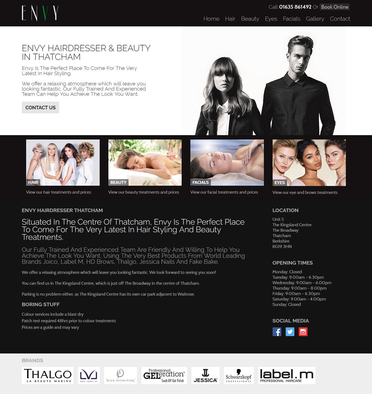 envy website design berkshire responsive full page