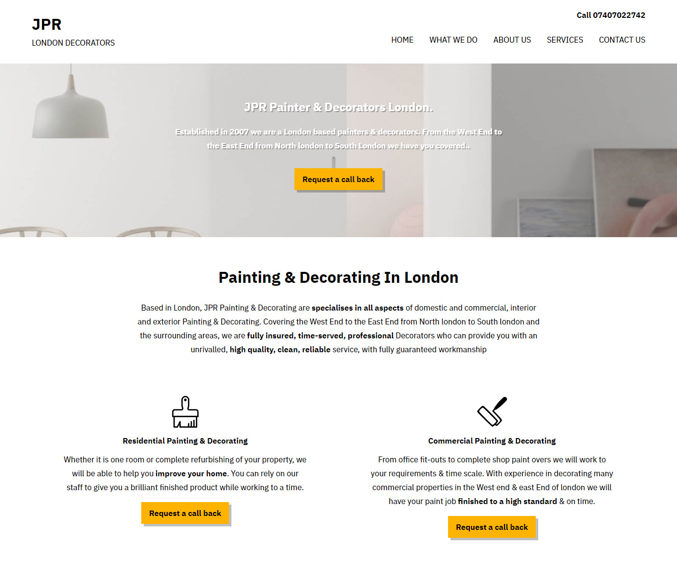 New Website Design For London Based Painters Decorators