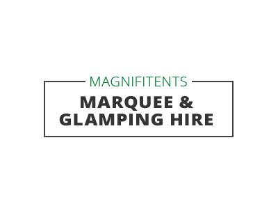 magnifitents reading logo design