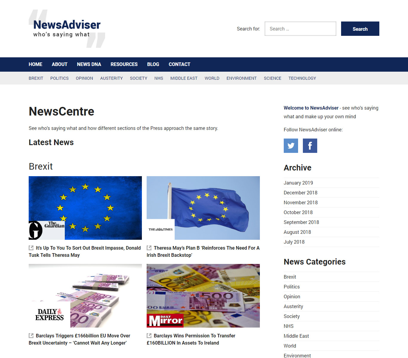 newsadviser wordpress news website home page