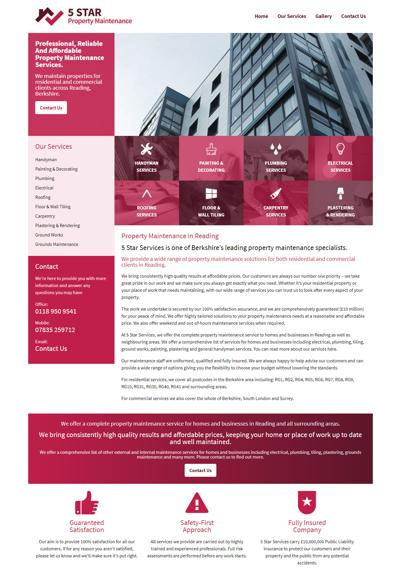 Bespoke Website For Property Services Company In Reading