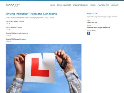 web design for access driving school in reading berkshire(4)